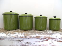 green canisters kitchen vintage green enamel canister set metal by vintageshoppingspree