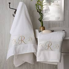 Bathroom Towel Sets by White Cotton Monogrammed Bath Towel Set For The Home