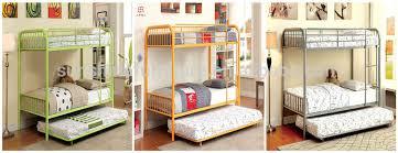 Bedroom Stylish Strong Iron Bunk Bed Queen Size Metal Steel Double - Queen single bunk bed