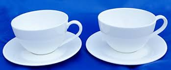 pair of plain white fine bone china metro breakfast cup and
