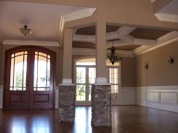 interior home columns luxury country house interior plan with beige wall paint with white