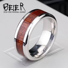 men promise rings beier 316l stainless steel ring simple and ring with wood