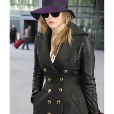 Jennifer Lawrence Home by Jennifer Lawrence Coat Black Leather Trench Coat