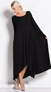 Draped Black Dress Long Sleeve Draped Maxi Dress Hgd168