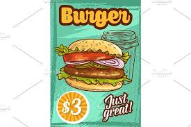 fast food vector burger fastfood sketch poster illustrations