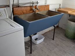 concrete laundry sink ash and orange