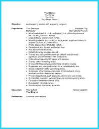 bartending resume template best of server and bartender resume resume templates for bartenders