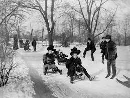 children sledding in central park united states of america 1900