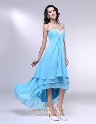 aqua high low prom dress strapless chiffon dress with layered