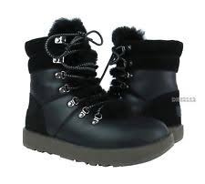 womens ugg montclair boots black ugg australia leather lace up mid calf boots for ebay