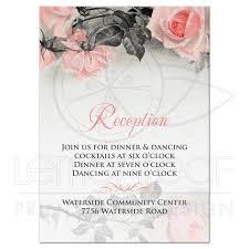 Invitation Cards For Wedding Reception Blush Pink Gray Rose Wedding Reception Card Vintage Rose Flower