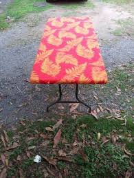 6ft Table Cloth by Hawaiian Print Table Cloth Fitted To A 6 Ft Table Water Resistant
