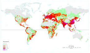 Earth World Map by World U0027s Population Density In Persons Per Square Kilometer World