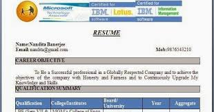 common resume format for freshers fresher resume format