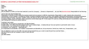 business analyst offer letter