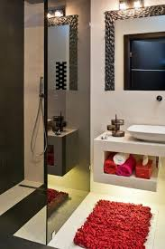 bathroom partition ideas open shower without door black glass partition walll accents