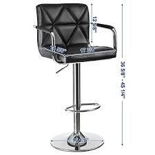 songmics adjustable bar stools with arms and back leather swivel