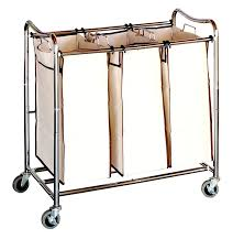 Laundry Divider Hamper by Amazon Com Decobros Heavy Duty 3 Bag Laundry Sorter Cart Chrome