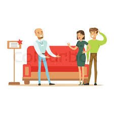 store seller selling red sofa to couple smiling shopper in