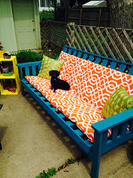 Patio Furniture Ideas by Old Futon Frame Weatherproof Spray Paint And Outdoor Cushions