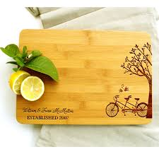 personalised cutting boards personalised chopping board bicycle tree lovebirds