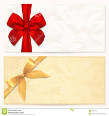 gift voucher coupon template red bow ribbons stock images