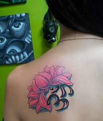 Lotus Flower With Om Symbol - pink lotus flower and om symbol tattoo on back shoulder