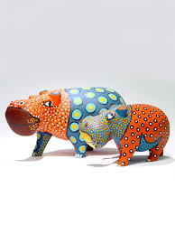colorful painted wood hippo wood sculpture