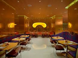 opulent luxury restaurant interior design gold pattern walls