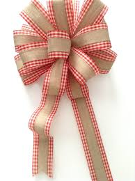 christmas tree topper burlap and red gingham xmas bow tree