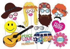 Printable Hippie Photo Booth Props | printable hippies photo booth props photo booth sign hippie 70 s