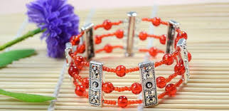 silver beaded bangle bracelet images How to make your own red multi strand beaded cuff bracelet with jpg