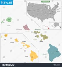 Hawaii State Map by Map Hawaii State Designed Illustration Counties Stock Vector