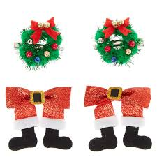 4 piece santa claus u0026 wreath hair clips claire u0027s