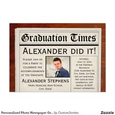 personalized photo newspaper graduation party card