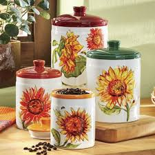 sunflower canister sets kitchen 4 rustic sunflower canister set from seventh avenue dw739591