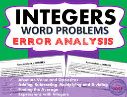 integers word problems error analysis find the error by