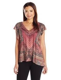 amazon com oneworld women u0027s v shape woven overlay top with