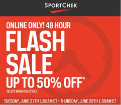 sport chek 48 hour flash sale up to 50 free shipping on