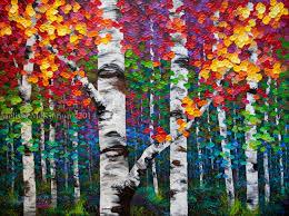 new painting kaleidoscope trees 48 x36 colourful acrylic aspen