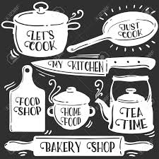 kitchen tools related typography set bakery shop tea time