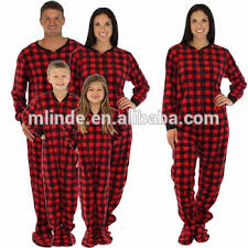 family matching plaid fleece 100 cotton onesie pjs footed
