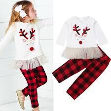 US CHRISTMAS KIDS Baby Girls Tutu Dress TopsPlaid Long Pants 2pcs