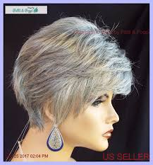 salt and pepper pixie cut human hair wigs synthetic short hair wig for women color grey 51 salt pepper