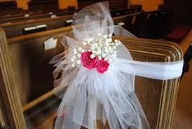 pew decorations for weddings tulle pew bows church wedding decorations