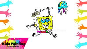 how to draw spongebob squarepants catch jellyfish spongebob