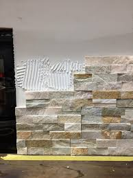 how to install stacked stone tile on a fireplace wall stone