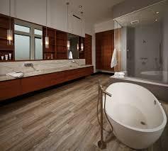 Contemporary Tile Bathroom - wood grain tile bathroom modern with glass wall in bathtubs