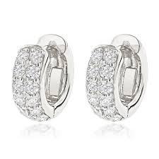 huggie earrings 14k gold diamond huggie earrings hoops 0 62ct