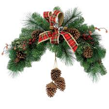 white pine cone plaid bow pine cone greenery swag at home at home